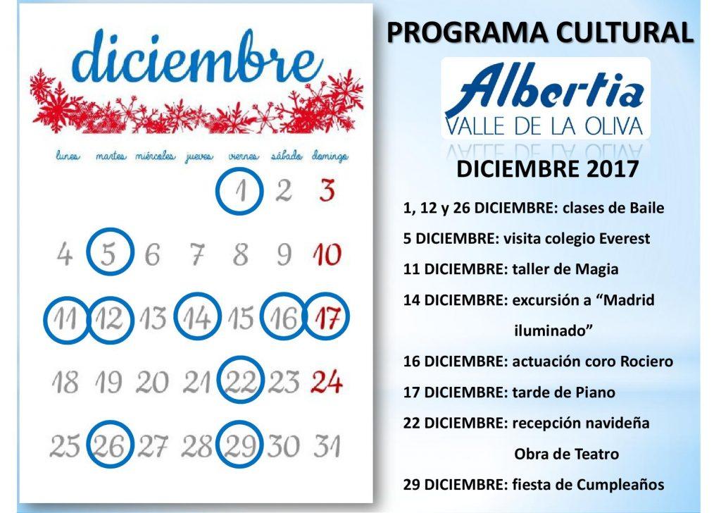 navidad residencia albertia ValledelaOlivaCalendario2017.diciembre
