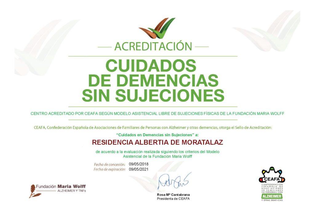 Acreditación Cuidados en demencias sin sujeciones Residencia Albertia Moratalaz centro libre de sujeciones