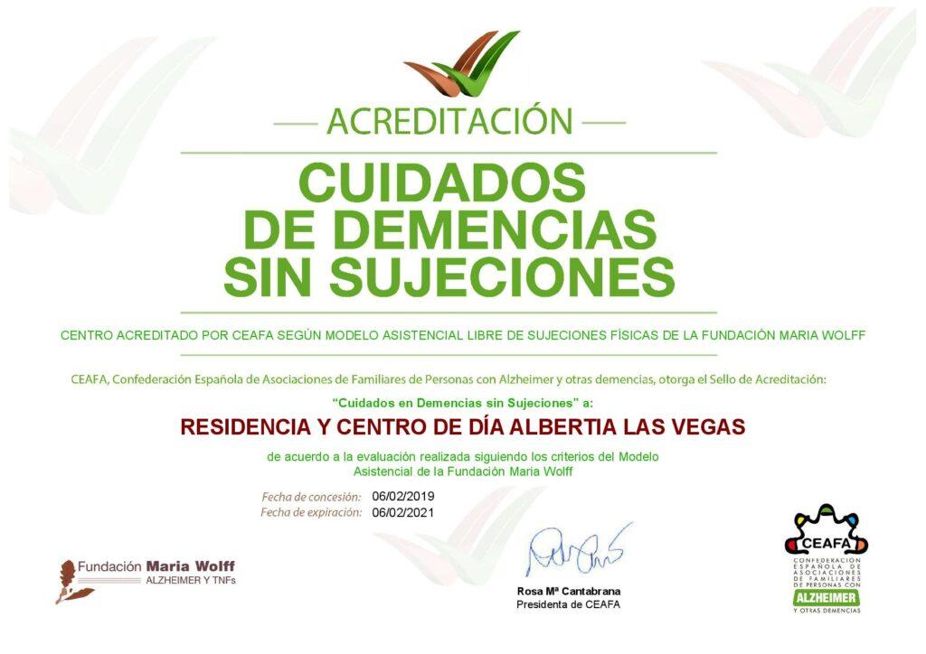 acreditación Residencia y Centro de Día Albertia Las Vegas sujeciones fisicas
